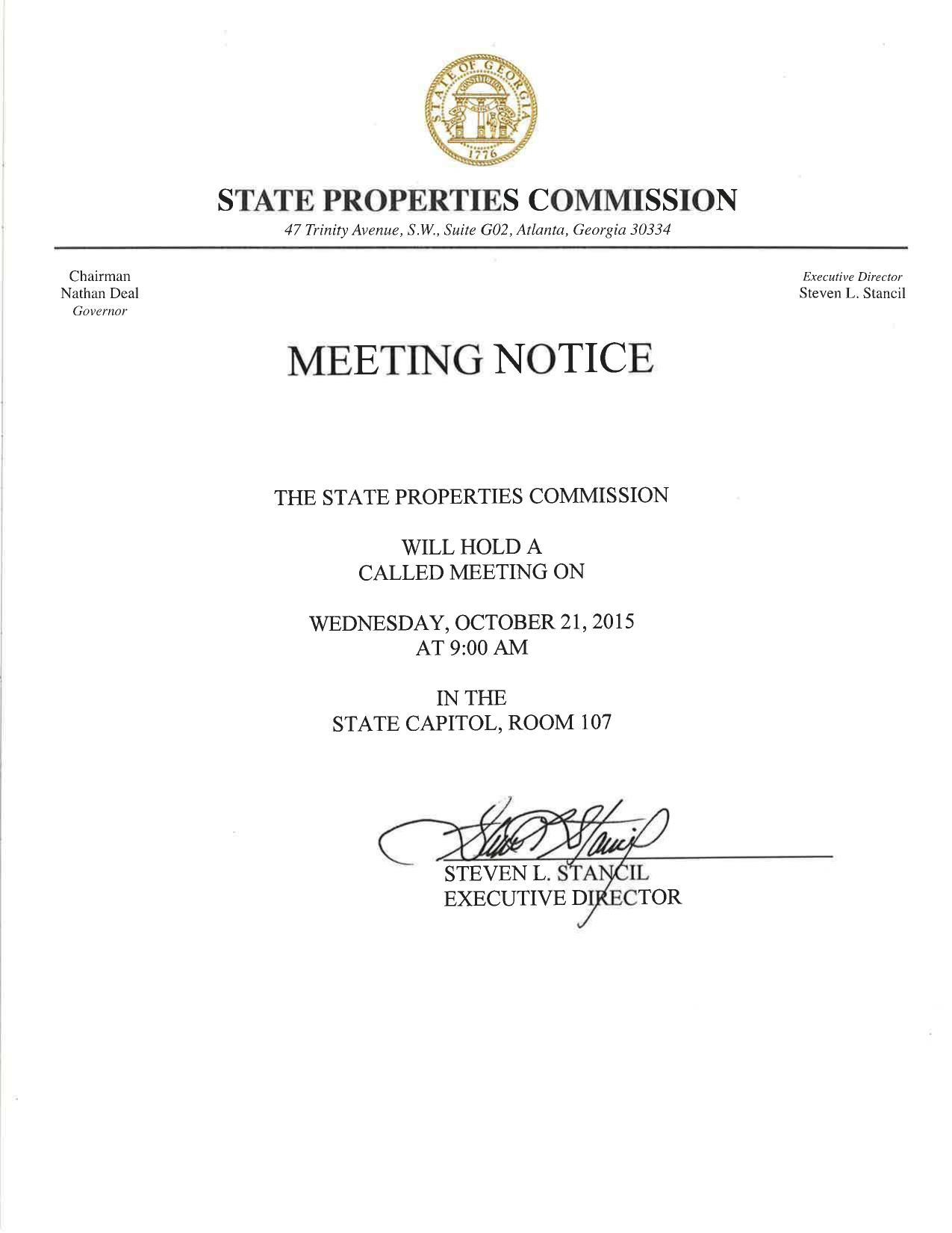 1275x1650 Notice, in Meeting, by State Properties Commission, for SpectraBusters.org, 21 October 2015