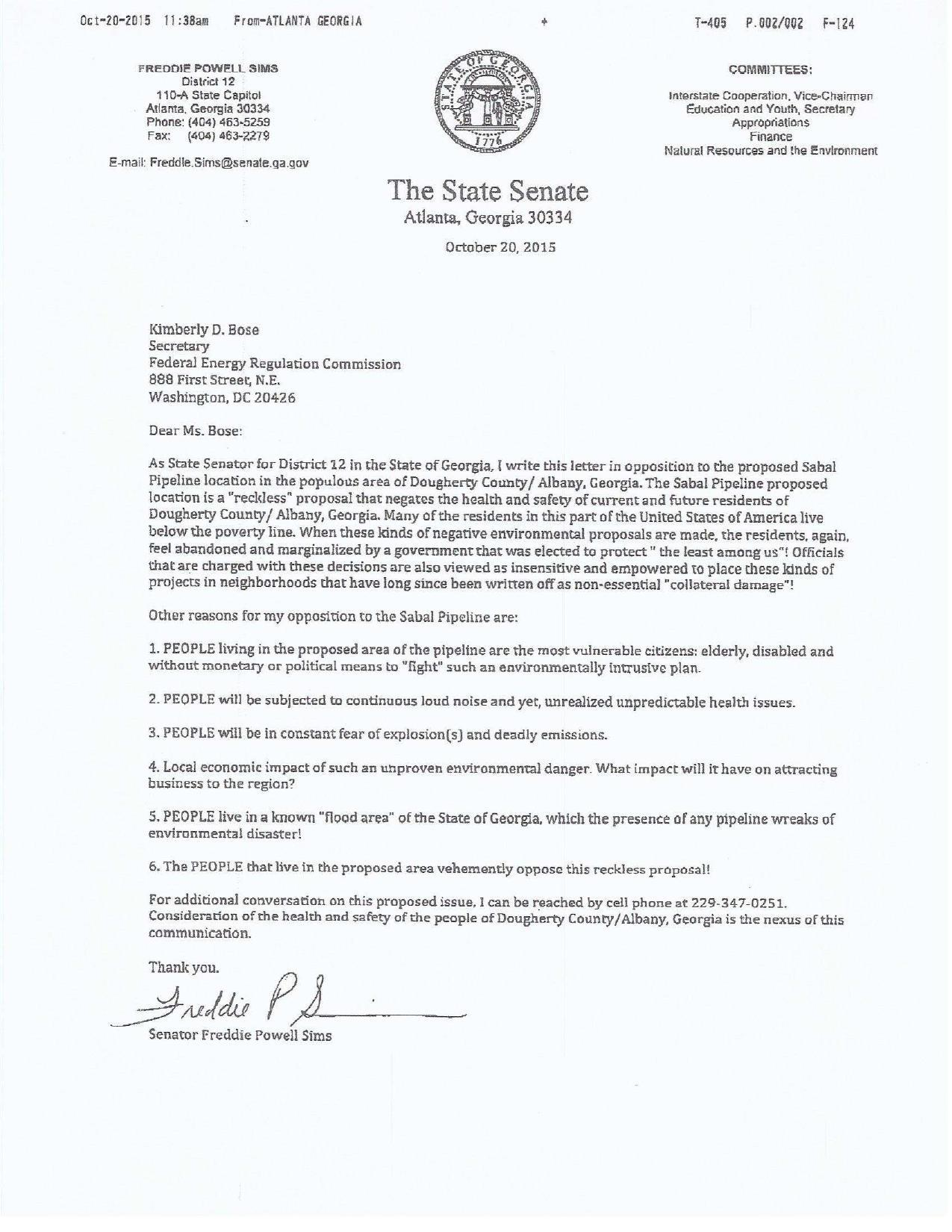 1275x1650 Letter to FERC, in Sabal Trail is a reckless proposal, by GA State Sen. Freddie Powell Sims, for SpectraBusters.org, 23 October 2015
