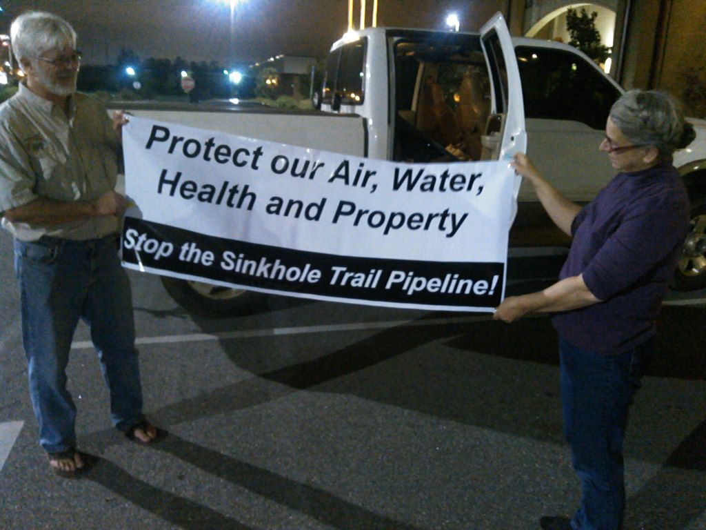 1024x768 Gordon Rogers, Flint Riverkeeper and Gretchen Quarterman, WWALS Watershed Coalition, in Stop the Sinkhole Trail Pipeline, by John S. Quarterman, for SpectraBusters.org, 4 November 2015