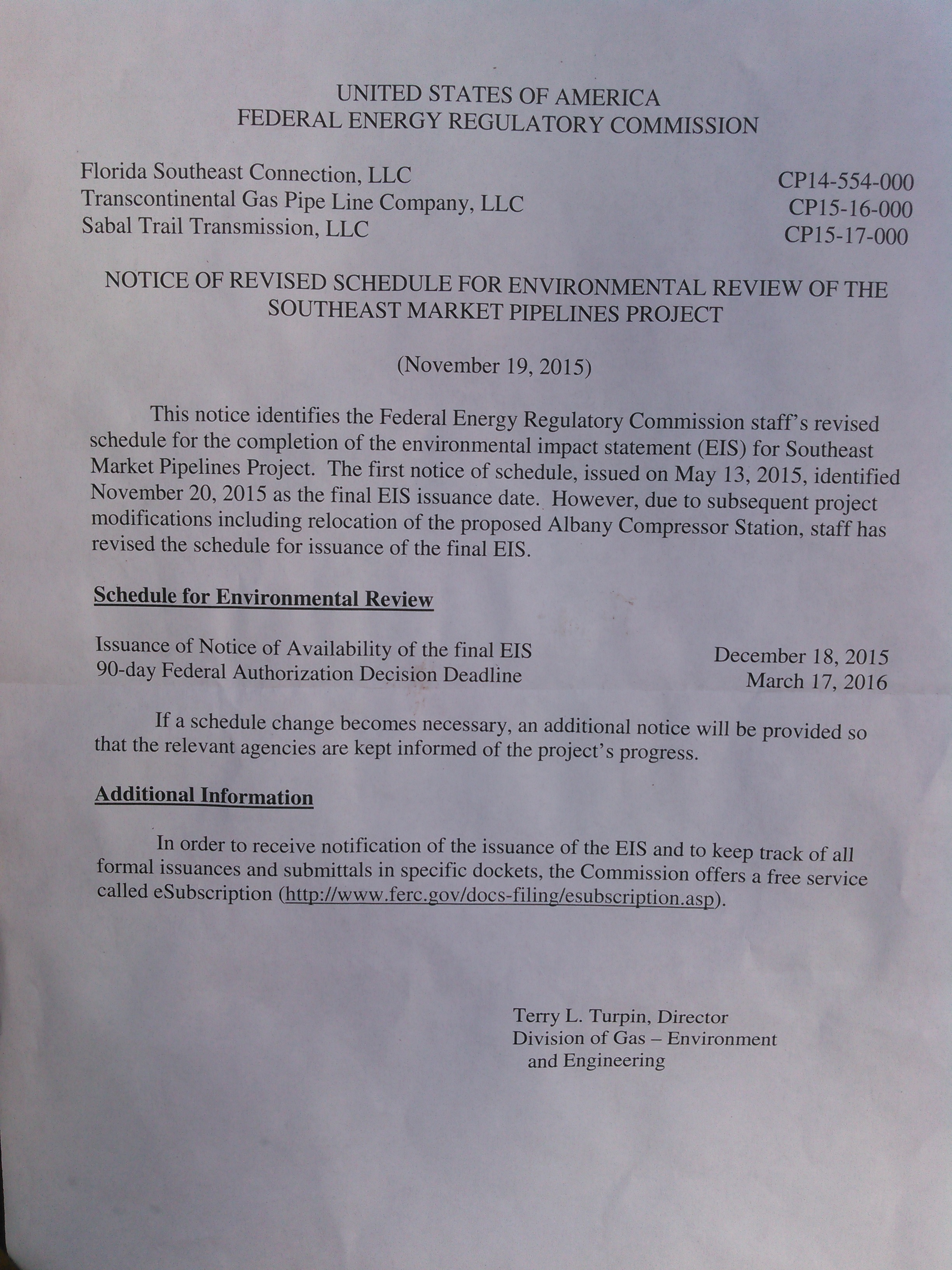 2448x3264 Letter, in SMP Schedule, by FERC, for SpectraBusters.org, 19 November 2015