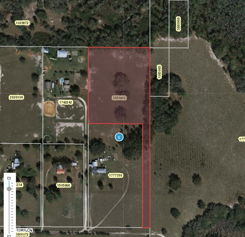 861x834 Oak Grove, parcel 3353412, Lake County, Florida, in Sabal Trail wants to plow through oak grove and horse pasture in Lake County, by John S. Quarterman, for SpectraBusters.org, 25 February 2016