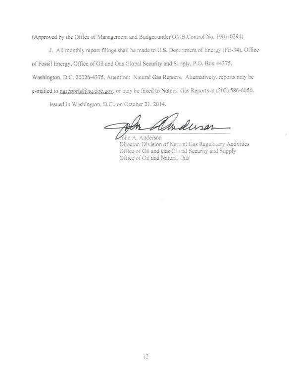 600x776 Signature, John A. Anderson, in Strom Crystal River LNG export approval, by Office of Fossil Energy, for SpectraBusters.org, 21 October 2014