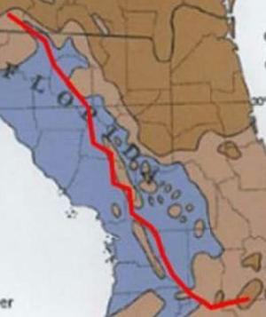 Red line Sabal Trail across most vulnerable area of Florida Aquifer