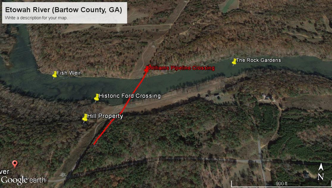 1116x634 Map, crossing at Historic Ford, in Etowah River boring incident, Transco Dalton Expansion Project pipeline, by Troy Harris for Gene Hill, for SpectraBusters.org, 27 April 2016