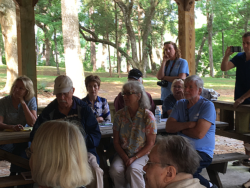 Marihelen Wheeler Gainesville candidate for Florida House District 21, Hamilton County BOCC's Beth Burnam, Jean Dierker and Maryvonee Devensky of Sierra Club, Merrilee Jipson, Jim Tatum, Eileen Box, Janet Barrow and more listen to Yoho speak