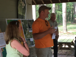 Congressman Yoho with Deanna and Chris Mericle Speaking before the hike of Sabal Trail Pipeline Route at Suwannee River State Park in which he saw the omissions of sinkholes by Sabal Trail from their EIS used to receive permit to bore under the Suwannee River